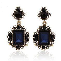 Nouveau mode bleu foncé couleur grand cristal vintage boucles d'oreilles pour les femmes boucles d'oreilles pendantes brincos grandes partie accessoires