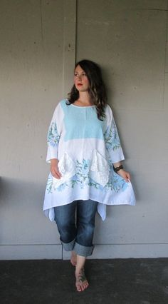 Linen Lagenlook tunic upcycled clothing Boho by lillienoradrygoods