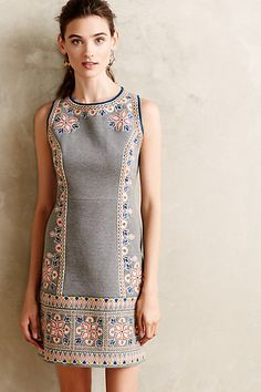 Embroidered Neoprene Shift #anthropologie