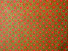 Orange Fabric with Pink and Green pattern 100% cotton