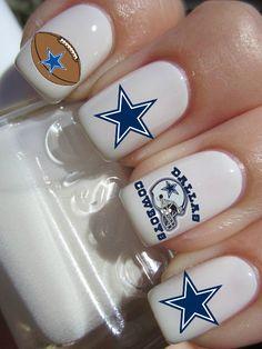 Dallas Cowboys NFL Football nail decals tattoos by CrazyFunNailArt