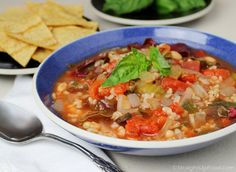 Tomato-Rice Soup: Tomatoes and rice are a famous combination, and are complemented nicely in this soup by white beans, greens, and fresh basil. This hearty soup can be a meal all on its own, or serve it with a side of homemade, oil-free corn chips.