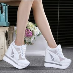 2017 Women Shoes Sexy Wedges Super High Heels Lace Up White Casual Shoes Women's Party Shoes Chaussure Femme Platform shoes Wedge Heel Sneakers, Sneakers Mode, Sneaker Heels, Sneakers Fashion, Fashion Shoes, Womens Wedge Sneakers, Wedged Sneakers, Casual Sneakers, Wedge Heels