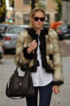 casual faux fur I want this even though it never gets cold enough in Cali I want it anyway