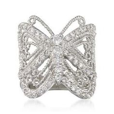 2.00 ct. t.w. CZ Butterfly Ring In Sterling Silver