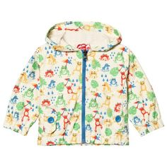 Tootsa MacGinty Cream All Over Frogs Print Packaway Hooded Jacket