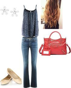 A fashion look from November 2012 featuring navy shirt, straight leg jeans and ballet shoes. Browse and shop related looks. Spring Outfits For School, Cute Spring Outfits, College Outfits, Outfits For Teens, Spring School, Cute Outfits, School Outfits, Preppy Casual, Preppy Outfits