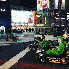 """""""mario carts"""" #onlyinjapan can you find #supermario #gocarts wizzing around the busiest intersection in the world #shibuya #tokyo #japan #dayinthelife #cozplay #cheapentertainment"""