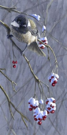 ARTFINDER: WINTER HARVEST 1 - BERRIES, SNOW, AND... by Karen Whitworth - Black Capped Chickadees can be found throughout the state of Alaska, and the world. Their seemingly cheerful antics bring warmth to even the coldest of winte...