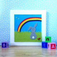 Rainbow Wall Art Rabbit Wall Art Rainbow Nursery by BunbyAndBean