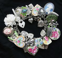 Victorian Style Heart Charm Bracelet by thevintageheart, via Flickr