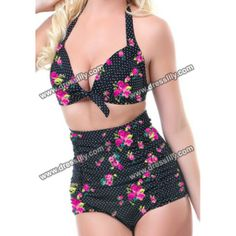 df2a3f01f58 Vintage Halterneck Polka Dot and Floral Print Print Two-piece Swimsuit For  Women