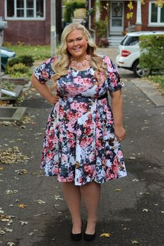 Eloquii Floral Print Fit and Flare Dress Plus Size