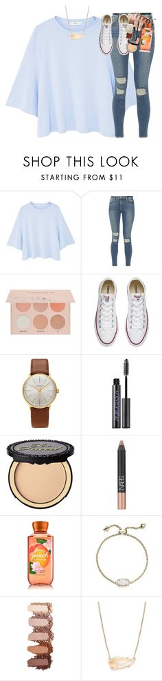 """""""i broke my toe yesterday at the pool"""" by classynsouthern ❤ liked on Polyvore featuring MANGO, Frame, Guerriero, Converse, Junghans, Urban Decay, Too Faced Cosmetics, NARS Cosmetics and Kendra Scott"""