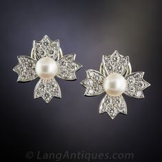 Tiffany & Co. Pearl and Diamond Floral Clip Earrings