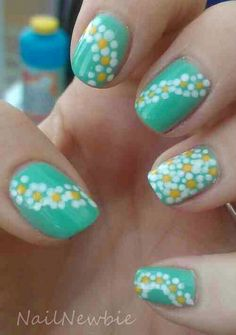 Sunflower floral nails