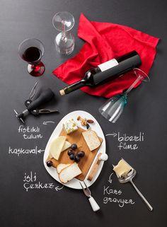 Cheese and wine accessories. Şarap ve peynir aksesuarları