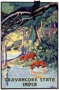 1935 INDIA JUNGLE TRAVEL BLACK PANTHER TIGER ELEPHANT ART DECO AD POSTER 318884 in Collectibles, Cultures & Ethnicities, Asian | eBay