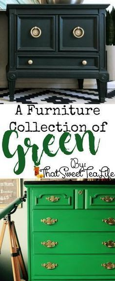 Here is a lovely and Lively Collection of Green painted furniture to get you going! Painted Furniture For Sale, Distressed Furniture, Paint Furniture, Furniture Makeover, Cool Furniture, Kitchen Furniture, Refinished Furniture, Furniture Stores, Luxury Furniture