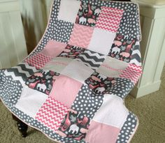 Elephants Giraffes Hippos in pink and  grey baby by Lovesewnseams, $128.00