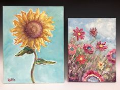 """""""Abstract Sunflower Cutout and Wild Poppies"""", Pair of Original Oil Paintings by artist Sarah Kadlic."""