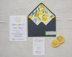 Wreath Monogram Wedding Invitation, Lemon Wedding Invitation Suite, Lemon Color Invite, Calligraphy Invitation, Grey Invite, Lemons -    Edit Listing  - Etsy