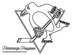 NHL worksheets for kids   penguins logo Colouring Pages