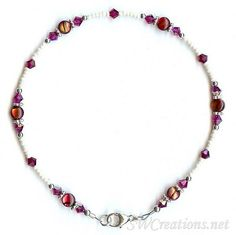 Handcrafted adjustable 9 - 10 inch beaded anklet created with cream Charlotte seed beads, ruby red dyed abalone shell beads, fuchsia pink Swarovski Austrian crystals, bright Bali silver, and sterling silver. Beaded Anklets, Beaded Necklace, Silver Pearls, 925 Silver, Sterling Silver, Slave Bracelet, Pearl Cream, Abalone Shell, Ankle Bracelets