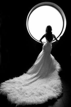 Amazing black and white wedding dress photo.