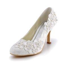 Wedding Shoes - $47.99 - Women's Lace Stiletto Heel Closed Toe Pumps With Rhinestone Flower  http://www.dressfirst.com/Women-S-Lace-Stiletto-Heel-Closed-Toe-Pumps-With-Rhinestone-Flower-047042433-g42433