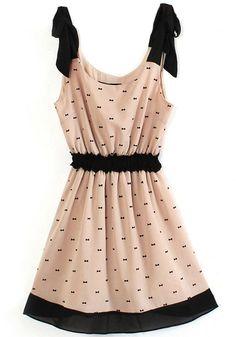 Pink Floral Bow Condole Belt Sleeveless Chiffon Dress