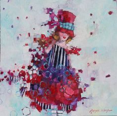 Angela Morgan, a talent for couture, Oil on Canvas 24 X 24 in.