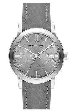 Burberry 'New Classic' Check Stamped Leather Strap Watch, 38mm Grey One Size$395.00 - See more at: http://westcoastclothingco.com/womens/apparel-and-accessories/jewelry/watches/#burberry