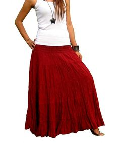 bd0550f0ee40c Plus Size Maxi Skirt Long Skirts For Women Handmade Tiered Skirt - Bordeaux  - CH12HDSJVI5