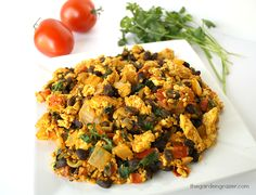 Southwestern tofu scramble with black beans, tomato, cilantro (vegan and gluten-free)