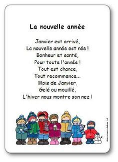 Nursery rhyme words New year: January has arrived, The new year . - ecole - Welcome Home French Language Lessons, French Lessons, French Teacher, Teaching French, French Education, Kids Education, French Poems, New Years Activities, Core French