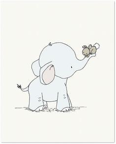 Elephant and Bunny Hold On Tight - Nursery Art