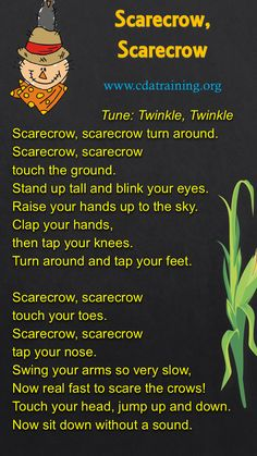Scarecrow, Scarecrow Rhyme to go with scarecrow craft Fall Preschool Activities, Preschool Music, Preschool Lessons, Preschool Classroom, Preschool Learning, Toddler Activities, Kindergarten Songs, Halloween Songs Preschool, Halloween Songs For Toddlers