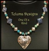 Sterling Silver Etched Heart Pendant with Sodalite, Blue Foil Jasper, Carnelian and Sterling Silver Beads. (Code 204N)