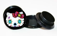 Pair of Day of the Dead Sugar Hello Kitty ear plug gauges tunnel screw on back | eBay