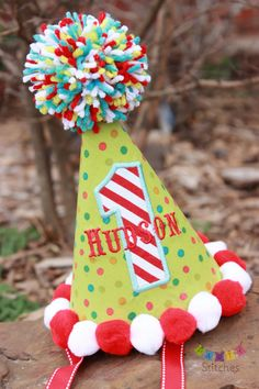 Circus Birthday Party Hat Carnival Party Hat by PartyStitches