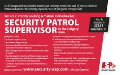 Do you live in #Calgary and are looking for a #security #Job?  ASP Security is hiring!