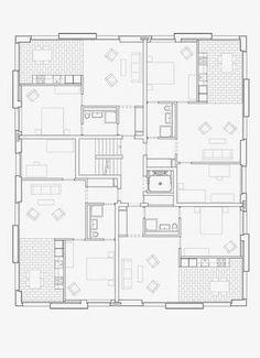 Cat House Plans, House Floor Plans, Architecture Plan, Residential Architecture, Residential Building Plan, Architectural Floor Plans, Brick Arch, Sims House Design, Apartment Floor Plans
