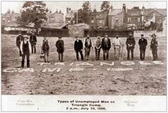 Plaistow land grabbers, 1906. A group of men who, to tackle the poverty brought about by enduring joblessness, took to planting vegetables on public land to feed their families.