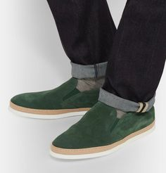 Shop men's sneakers at MR PORTER, the men's style destination. Discover our selection of over 400 designers to find your perfect look. Men S Shoes, Slip On Sneakers, Emerald Green, Light In The Dark, Sneakers Fashion, Hue, Derby, Collars, Espadrilles