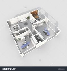 3d interior rendering perspective view of furnished dental clinic