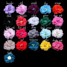 Check it on our site New stock 20colors 1.97'' cute chiffon flowers with Rhinestone Pearl without clips girls headbands hair accessories 200ps/lot just only $47.60 with free shipping worldwide  #babygirlsclothing Plese click on picture to see our special price for you