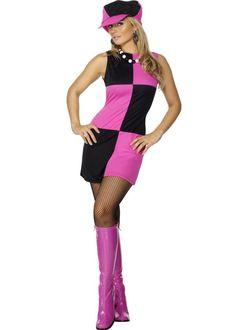 Ladies Mary Quant Style Pink Swinging 60s Costume