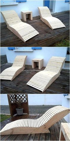 We never hesitate to share the ideas created by restyling the wood pallets because we love to assist people in saving their hard earned money, so here we are going to show you how you can make sun bath loungers with the wooden pallets. Wooden Pallet Projects, Wooden Pallet Furniture, Pool Furniture, Diy Outdoor Furniture, Wooden Pallets, Pallet Ideas, Wooden Crafts, Furniture Ideas, Furniture Removal