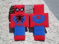 Spider-Man Minecraft Skin in plastic canvas